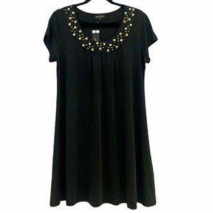 Maccine Tunic Dress Studded Neck Black Large NWT